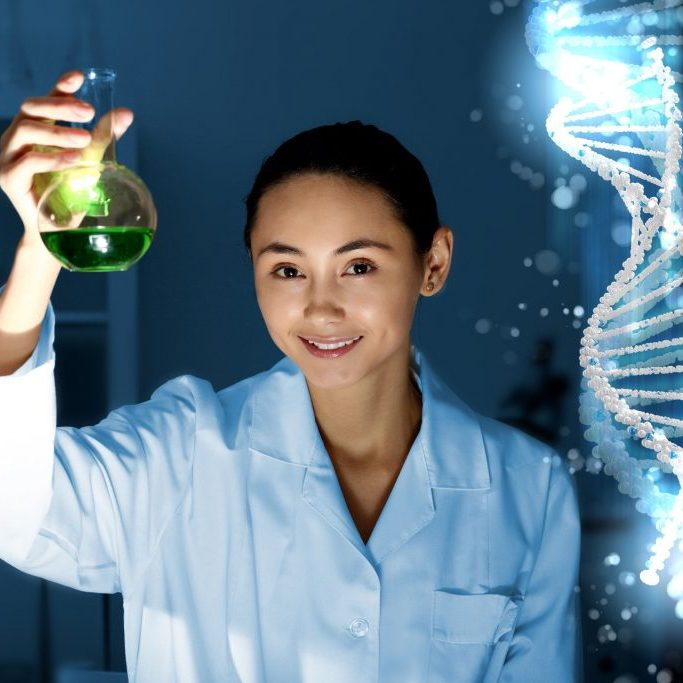14889862 - image of dna strand against colour background